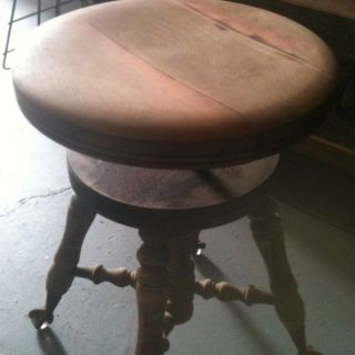 Antique Piano Stool Bench Glass Eagle Claw Foot Ball Feet Wood Chair