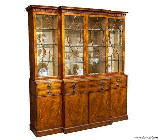 Antique Mahogany China Cabinet Buffet and Hutch Bookcase Secretary