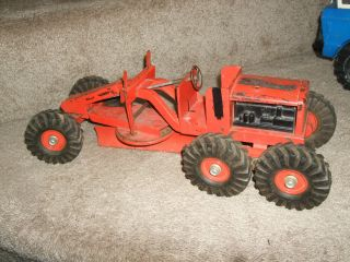 Vintage Orange Nylint Road Grader metal pressed toy antique truck boys