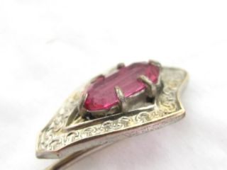 Antique Victorian Gold Fill Signed UHK Pink Ruby Rhinestone Stick Pin