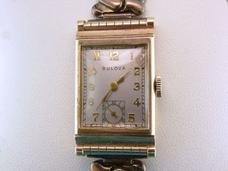 Vintage Antique Bulova Yellow Gold Mens Wrist Watch