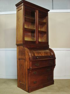 Antique Victorian Walnut Cylinder Roll Secretary Desk Bookcase Hutch