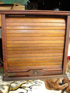 Antique Railroad Railway Roll Top Ticket Cabinet Case ~ Oak Railway
