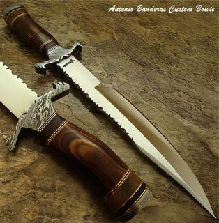 Antonio Banderas 1 OF A KIND RARE CUSTOM BOWIE KNIFE DAMASCUS GUARD