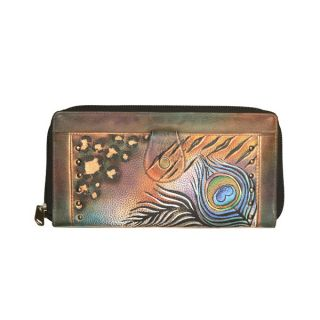 Anuschka Genuine Leather Zip Around Clutch Wallet Peacock Feather
