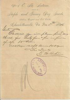 1884 Antrim Dry Goods Merchant Charlottesville VA Lette