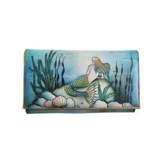 Anuschka Genuine Leather Check Book Wallet Clutch Hand Painted Mermaid