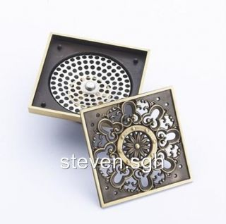 Antique Brass Art Carved Flower Bathroom Shower Drain Floor Drain DL