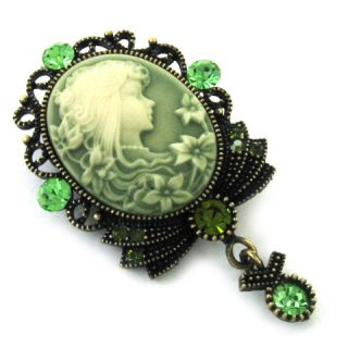Antique Design Green Emerald Cameo Pin Brooch Pendant