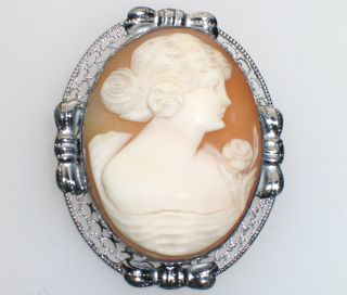 Antique 1920s Sterling Filigree Cameo Girl Roses Brooch