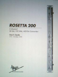 Apogee Rosetta 200 2 CH 24 Bit Ad Da Con User Guide BnD