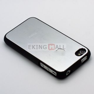 Aluminum Metal Back Skin Hard Case Cover for Apple iPhone 4 4S #Gray