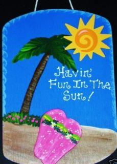 7x11 FUN IN SUN Tropical SIGN Beach Pool Tiki Bar Deck Patio Plaque