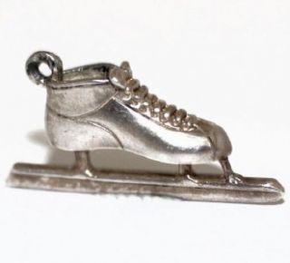ice skate vintage sterling silver pendant charm 3 5g