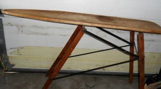 ANTIQUE WOODEN IRONING BOARD NO. 171 PERFECTION IRONING BOARD W/ PAPER