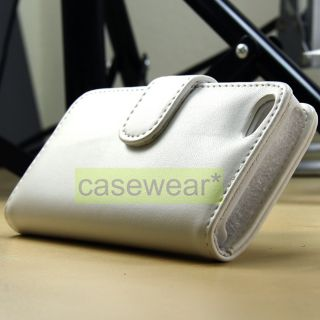 Luxmo White Leather Flip Pouch Case Cover for Apple iPhone 5 Accessory