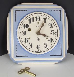 Vintage Art Deco Porcelain Miller Kitchen Wall Clock 8 Day Key Wind Up