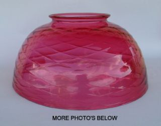 Antique Art Glass Cranberry Diamond Optic 14 Hanging Light Lamp Shade