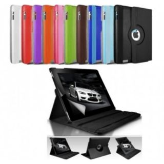 New Apple Leather 360 Degree Rotating iPad Case Cover for iPad 2 and 3