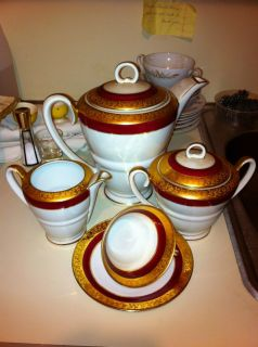 French Antique Porcelain China Tea Set Gold Trim