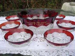 ANTIQUE RUBY FLASH EAPG SERVING BOWL & BOWLS ENGRAVED MERRY CHRISTMAS