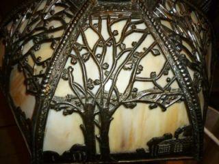 Antique Arts & Crafts Slag Glass Miller?SLAG GLASS LAMP SHADE