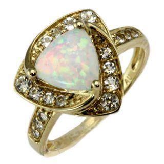 10k yellow gold cabochon opal aquamarine ring