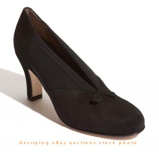 New Anyi Lu Heart Black Suede Elastic Pump Size EU 38 5 US 8 Heel