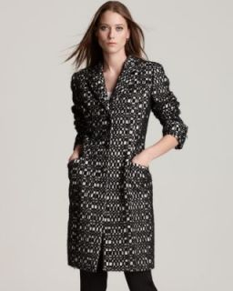 Anne Klein NEW Black Ivory Wool Pattern Notch Collar Three Button Coat