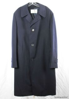 AQUASCUTUM Vtg Navy Blue Over Wool Coat Jacket Overcoat Mens 44 Tall