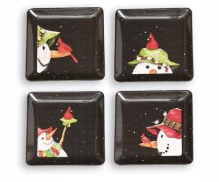 Set of 4 Snowbird Square Appetizer Plates Christmas Holiday Gifts