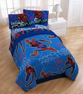 Marvel Spiderman Arachnid Spider Twin Comforter Sheet 4 Piece Bed Set
