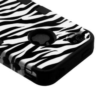 Apple iPod Touch 5 5th Gen Hard Hybrid Case Cover White Zebra Black