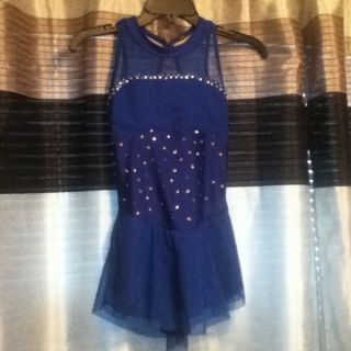 Del Arbour Figure Skating Dress child 12 14 blue