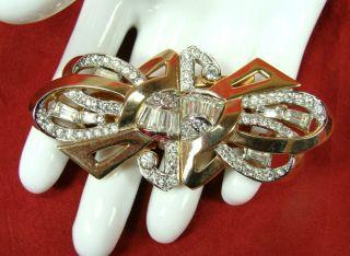 Vintage Mazer Art Deco Patd Duette Baguette Rhinestone Brooch Pin