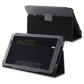 For Archos Arnova 10 G2 Tablet Black Plain Folio Leather Case Pouch