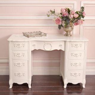 Shabby Cottage Chic 8 Drawer Writing Desk French Vintage Style in