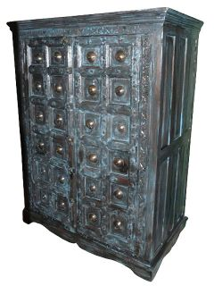 Antique Blue Doors Armoire Cabinet India Furniture Brass Stars Hand