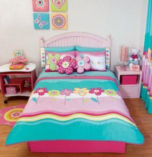 New Girls Teen Pink Aqua Flowers Comforter Bedding Sheet Set Queen