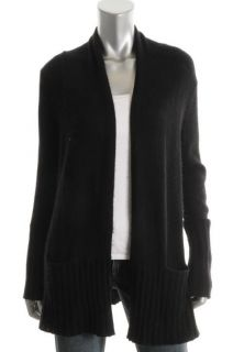 Aqua Black Cashmere Ribbed Trim Long Sleeve Open Front Cardigan