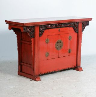 Antique Red Painted Lacquered Chinese Sideboard Console Altar Table