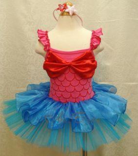 Girls Kids Ariel Mermaid Costume Dress Skirt Sz 2 8Y Ballet Fancy Tutu