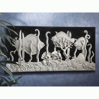 Art Deco Black White Aquarium Bas Relief Wall Sculpture
