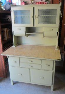 Antique Hoosier Kitchen Cabinet Green Powder Blast Wood Wooden Glass