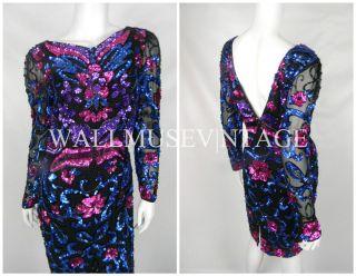 Vintage 90s black pink blue FULLY BEADED SEQUIN TROPHY SHEER SILK