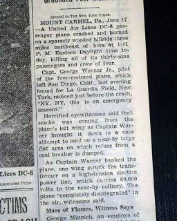 UA FLIGHT 624 Mt. Carmel PA Pennsylvania Airplane Crash Disaster 1948