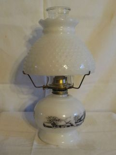 VINTAGE ANTIQUE MILK WHITE GLASS CURRIER IVES KEROSENE OIL TABLE LAMP