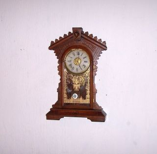 ANTIQUE E N WELCH 8 DAY WALL or SHELF CLOCK ORIG KEY PENDULUM WALNUT
