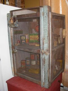 Antique Early Primitive Crude Small Pie Safe Old Original Green Paint