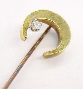 vintage diamond 14k solid gold moon stick pin 2